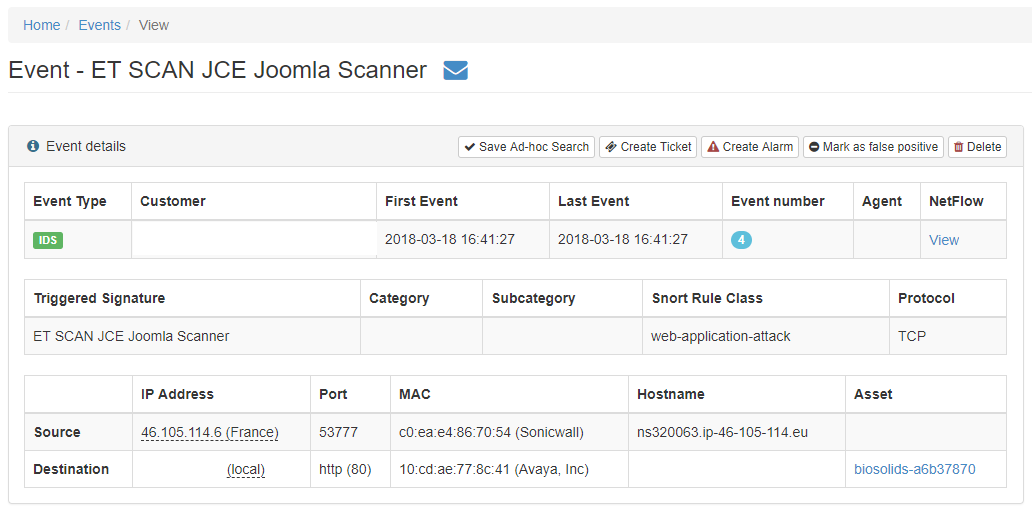How to analyze scanning events – NetWatcher